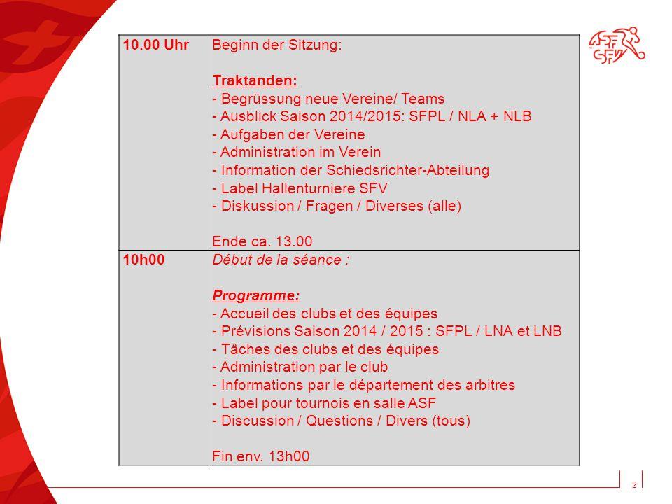 10.00 Uhr Beginn der Sitzung: Traktanden: - Begrüssung neue Vereine/ Teams. - Ausblick Saison 2014/2015: SFPL / NLA + NLB.
