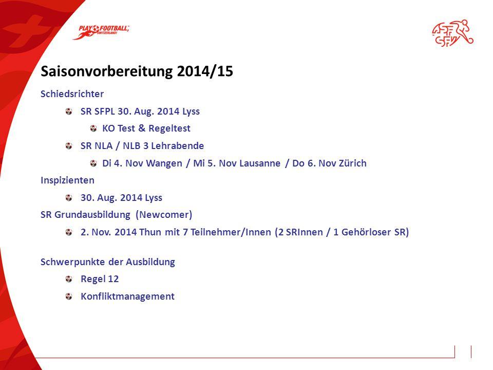Saisonvorbereitung 2014/15 Schiedsrichter SR SFPL 30. Aug. 2014 Lyss