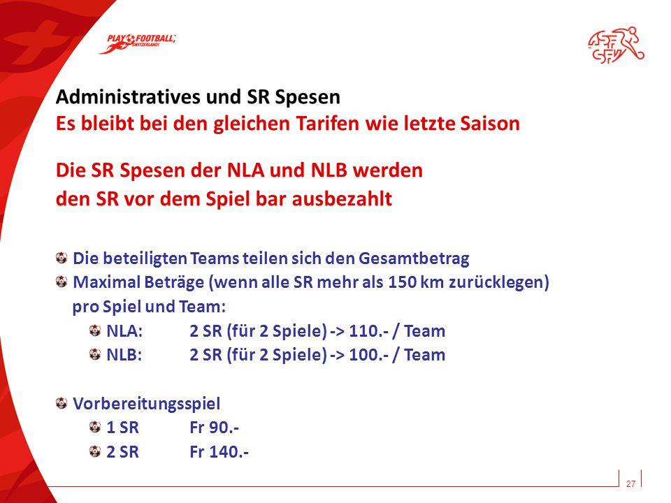 Administratives und SR Spesen