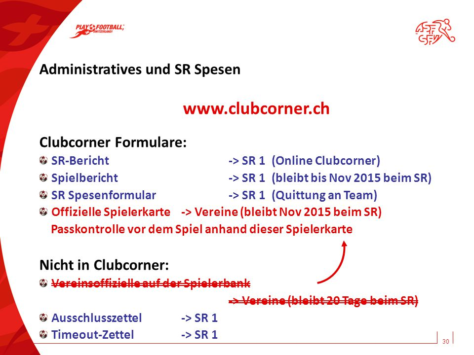 www.clubcorner.ch Administratives und SR Spesen Clubcorner Formulare: