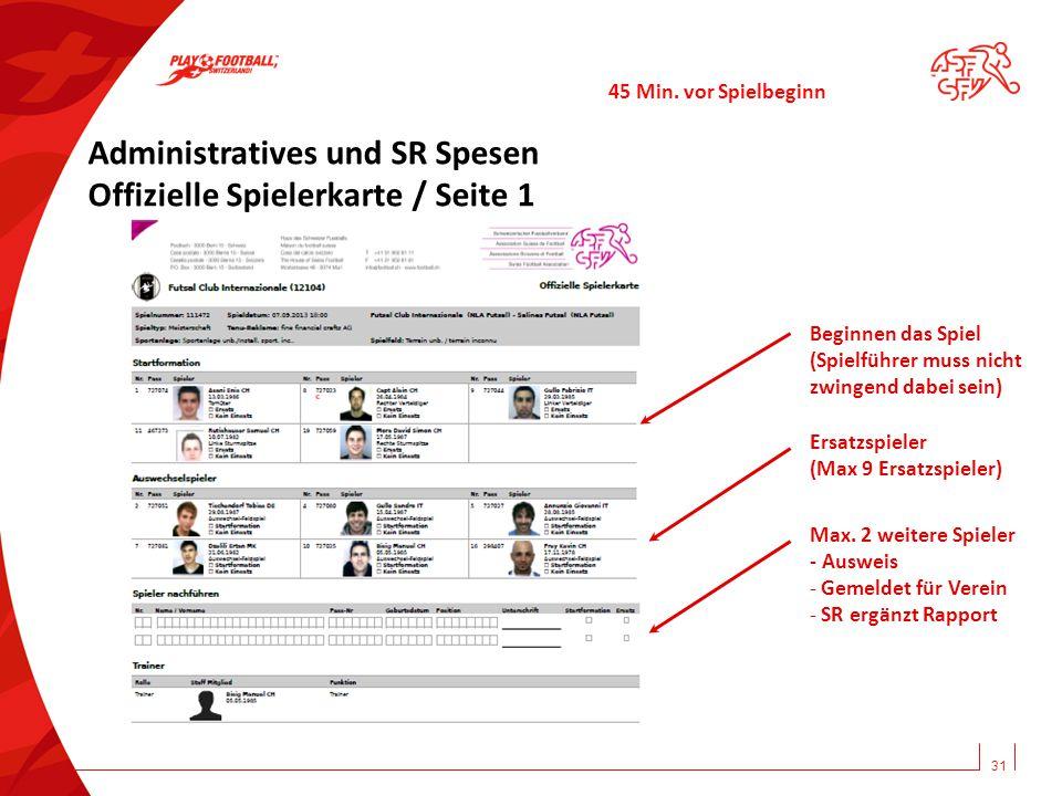 Administratives und SR Spesen Offizielle Spielerkarte / Seite 1