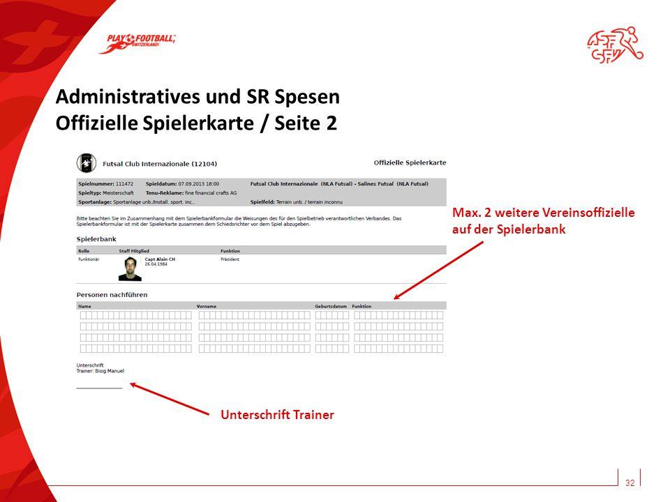 Administratives und SR Spesen Offizielle Spielerkarte / Seite 2