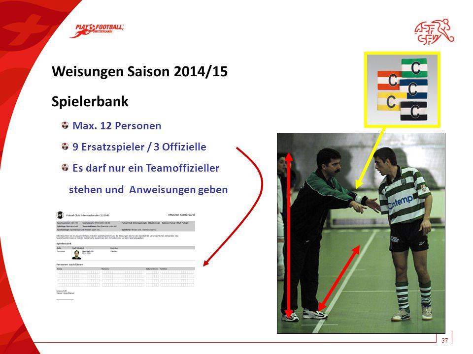 Weisungen Saison 2014/15 Spielerbank Max. 12 Personen