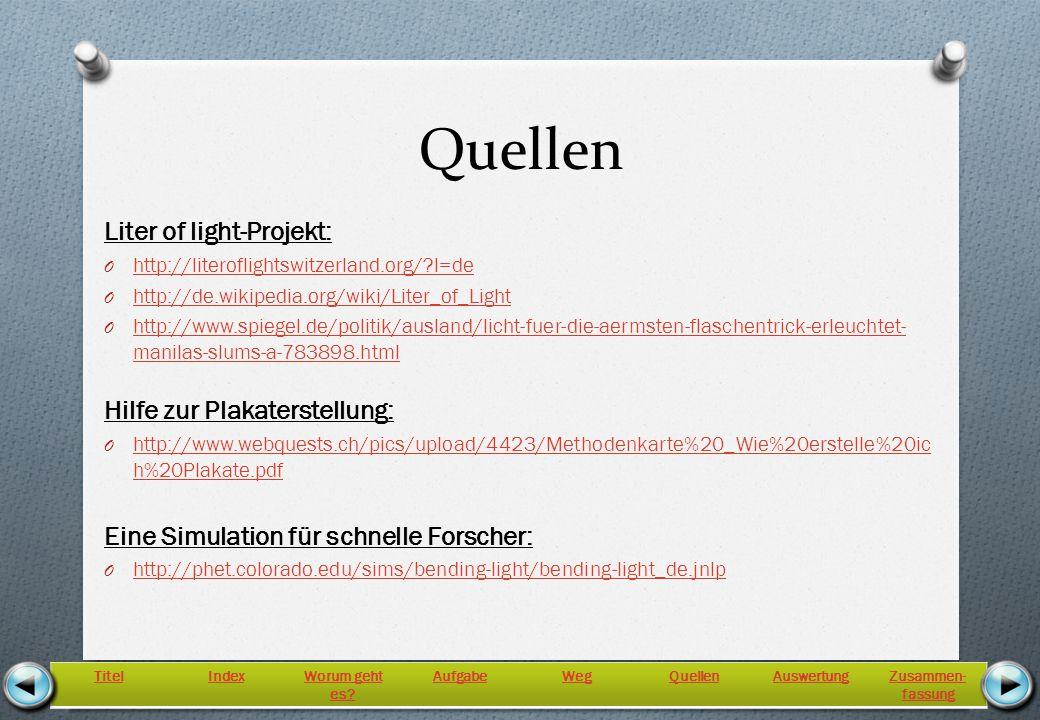 Quellen Liter of light-Projekt: Hilfe zur Plakaterstellung: