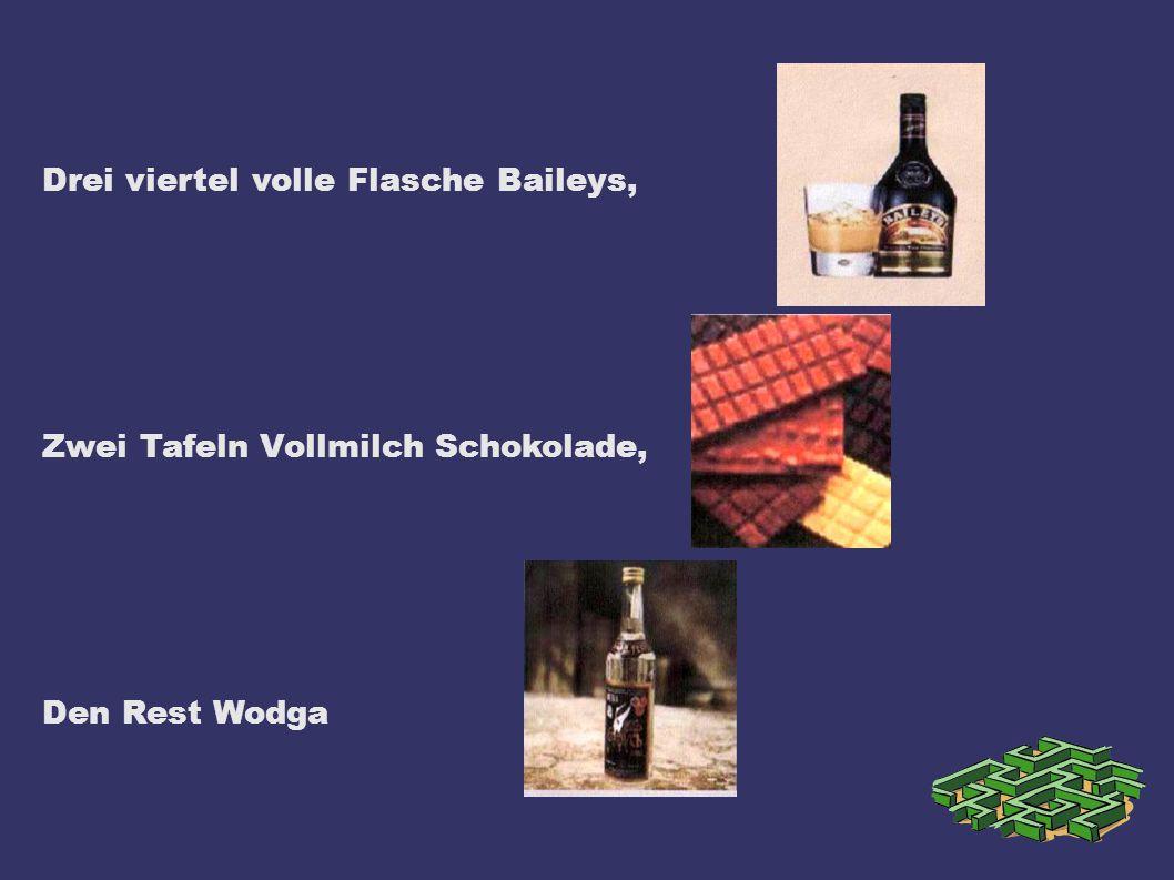 Drei viertel volle Flasche Baileys,