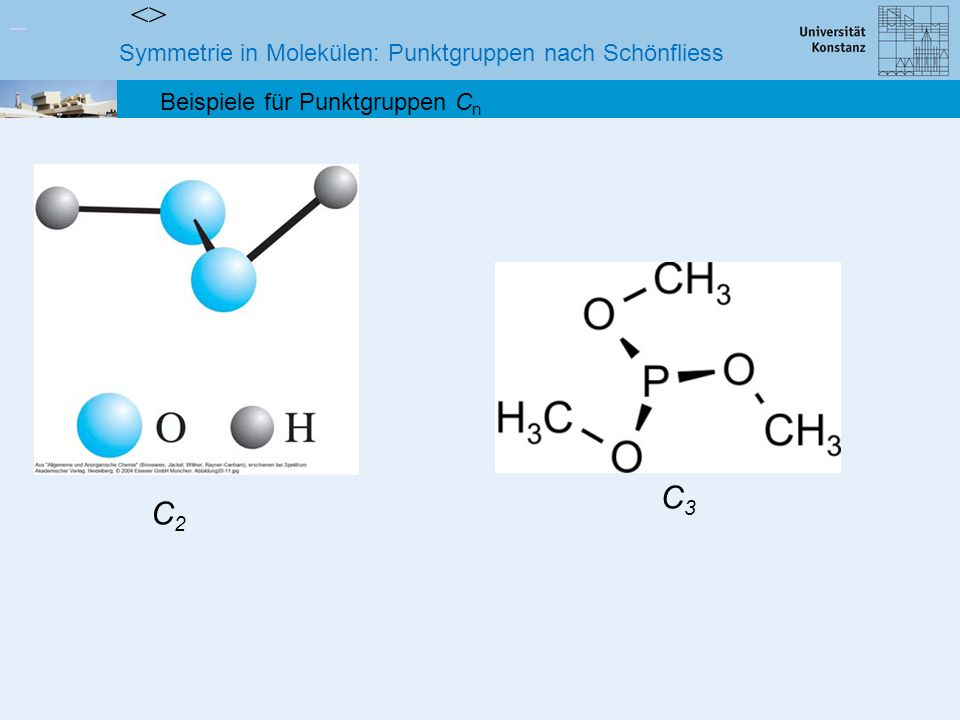 <> C3 C2 Symmetrie in Molekülen: Punktgruppen nach Schönfliess