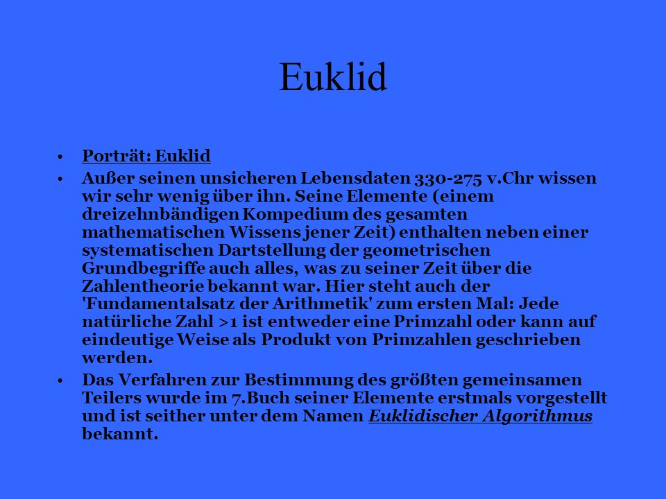 Euklid Porträt: Euklid