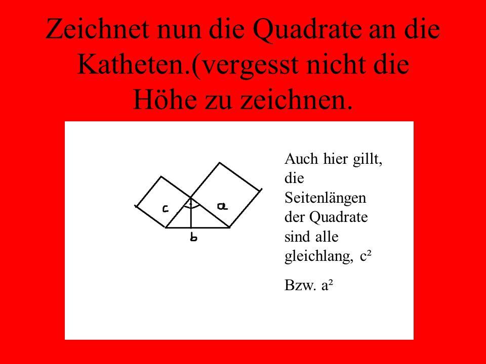 Zeichnet nun die Quadrate an die Katheten