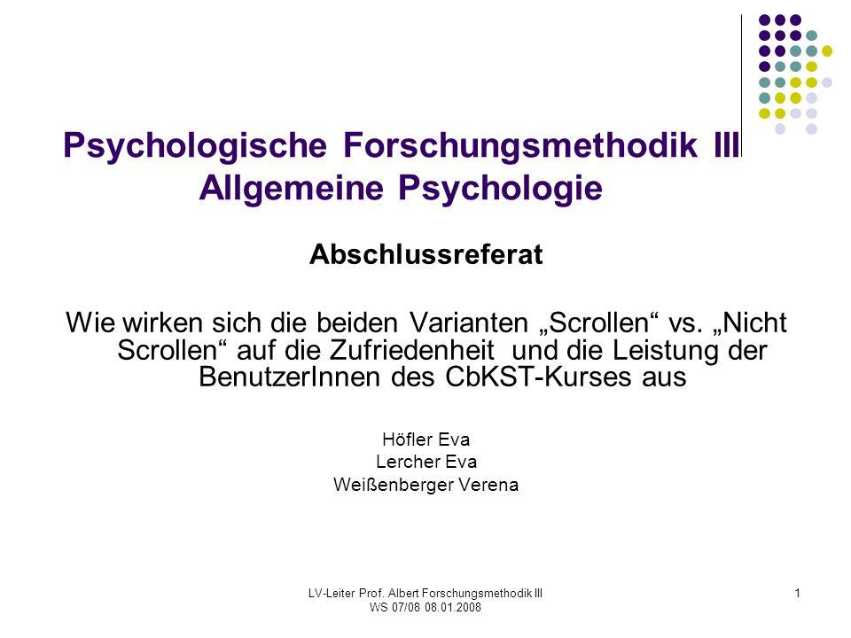 Psychologische Forschungsmethodik III Allgemeine Psychologie