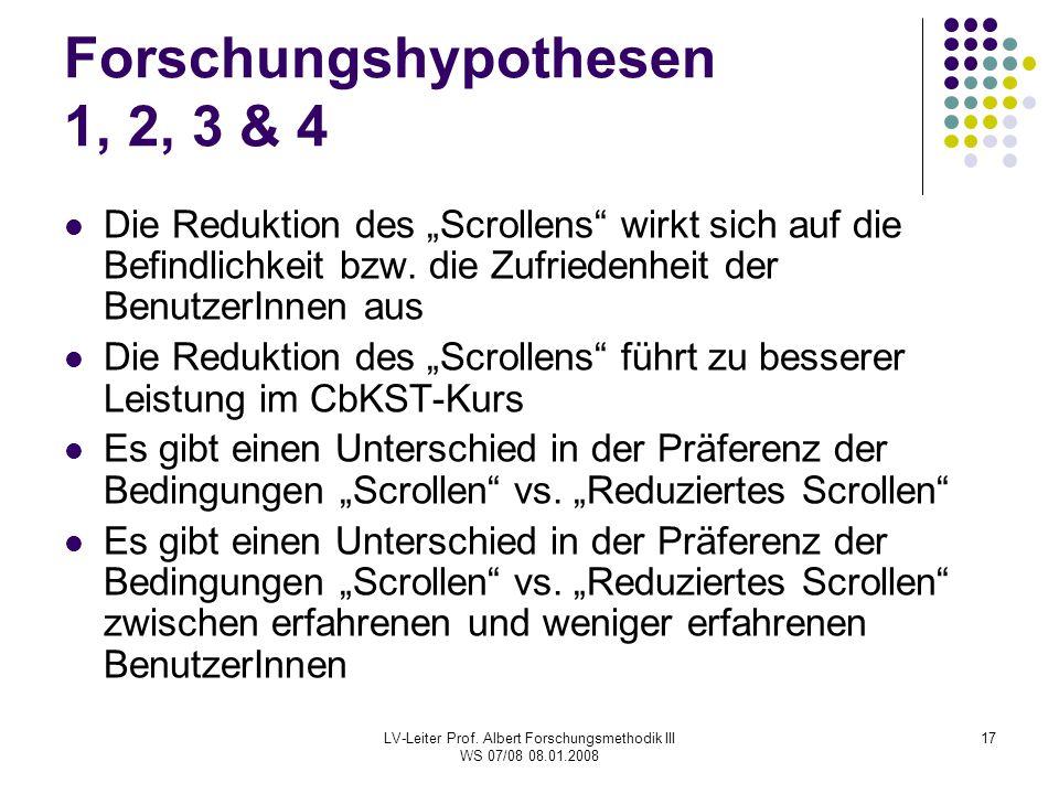 Forschungshypothesen 1, 2, 3 & 4