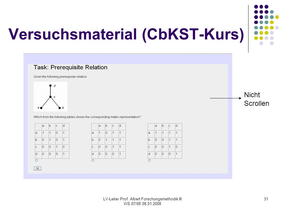 Versuchsmaterial (CbKST-Kurs)
