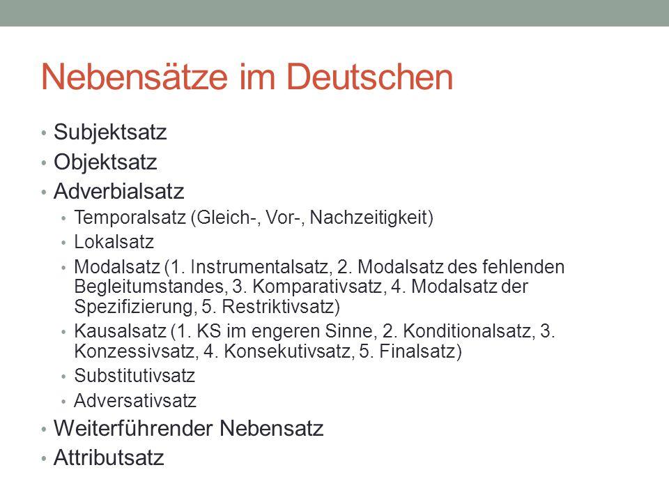 Nebensätze im Deutschen
