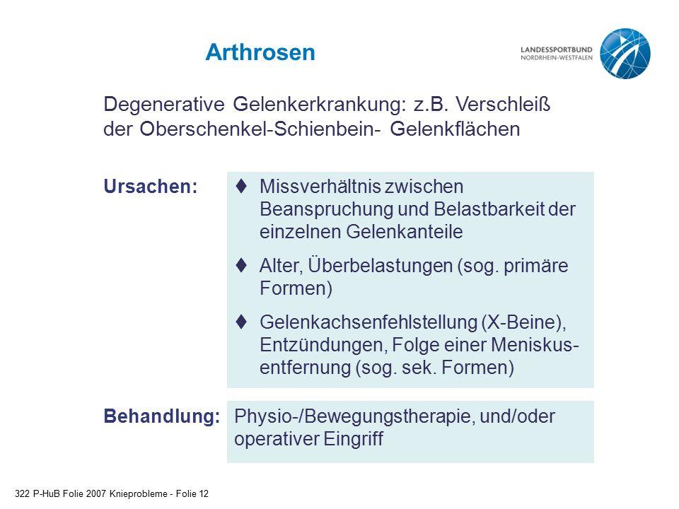 Arthrosen Degenerative Gelenkerkrankung: z.B. Verschleiß der Oberschenkel-Schienbein- Gelenkflächen.