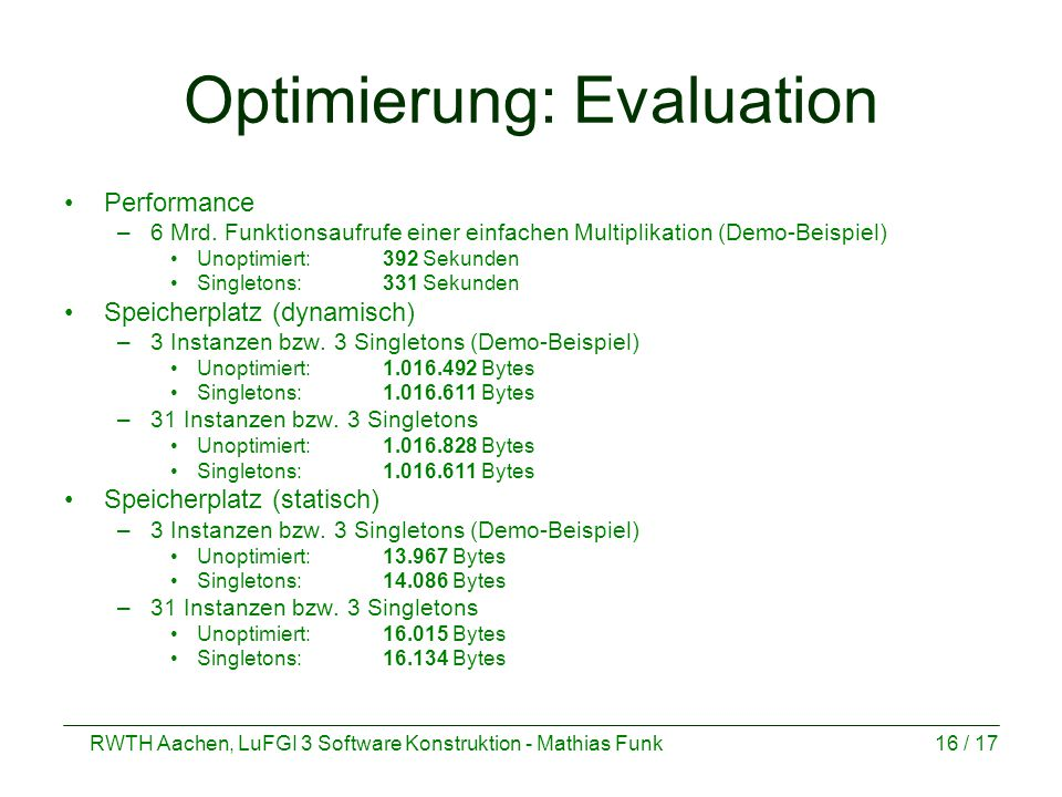 Optimierung: Evaluation