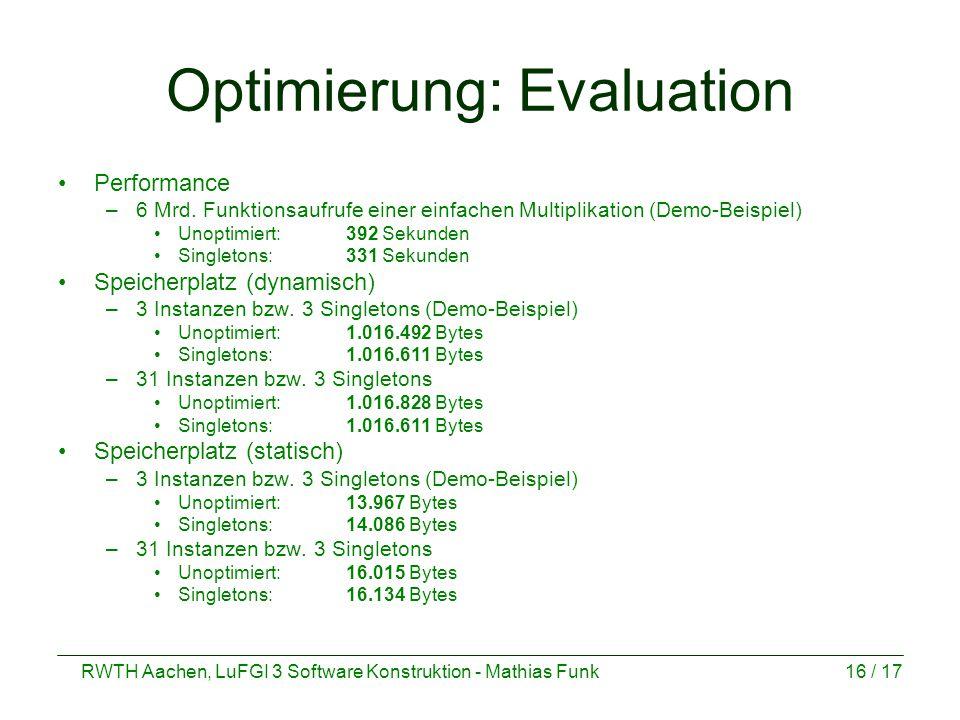Optimierung: Evaluation