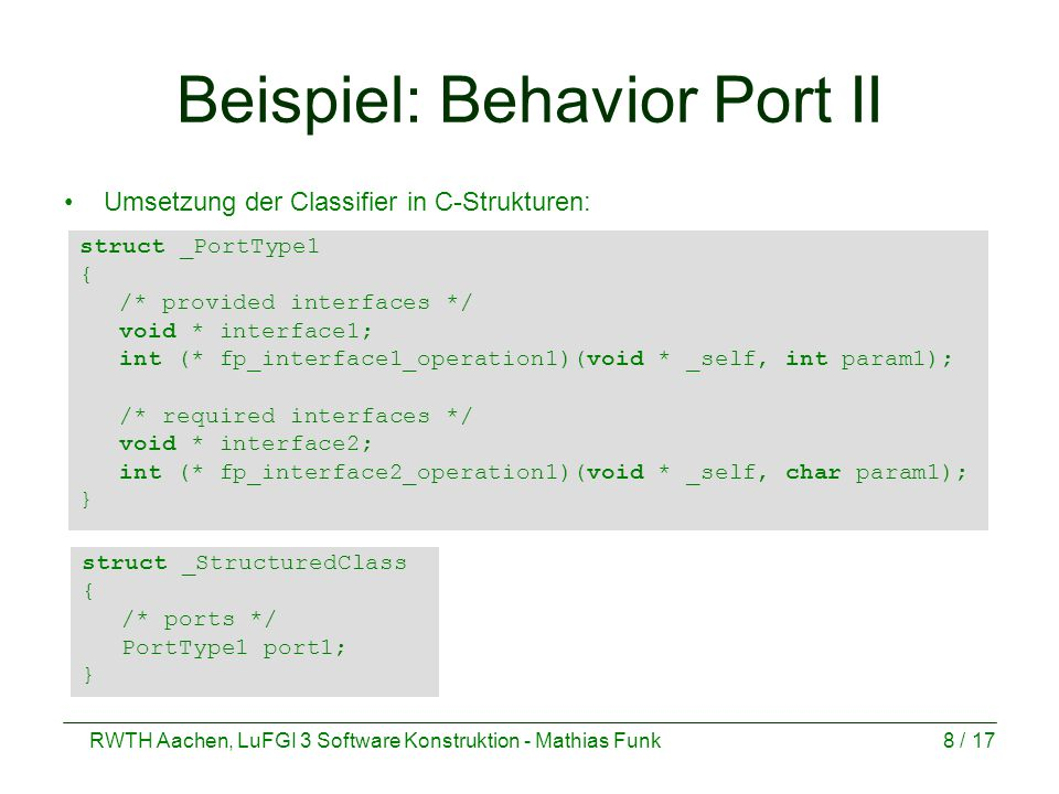 Beispiel: Behavior Port II