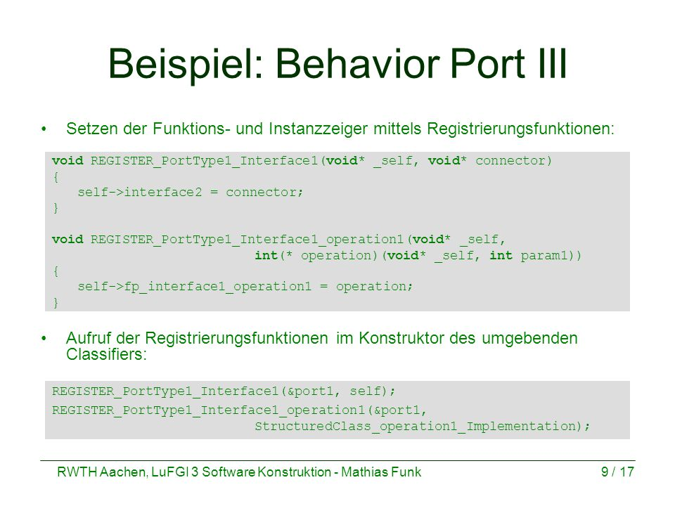 Beispiel: Behavior Port III
