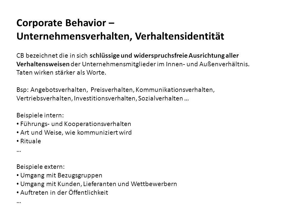 Unternehmensverhalten, Verhaltensidentität