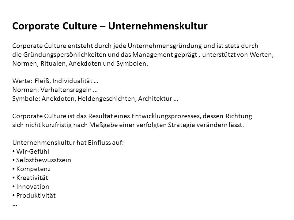 Corporate Culture – Unternehmenskultur