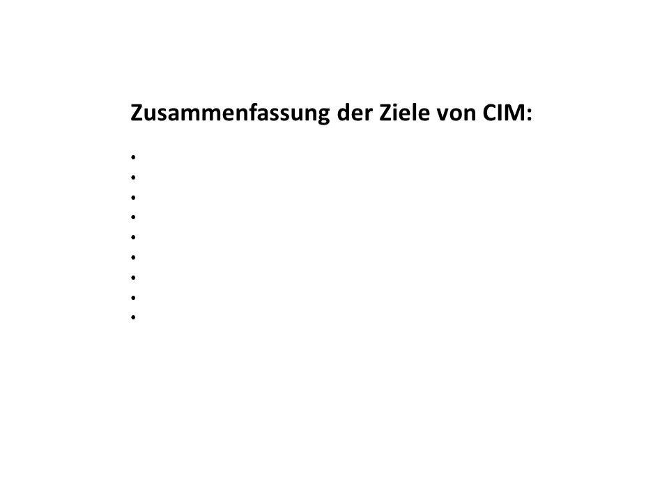Zusammenfassung der Ziele von CIM: