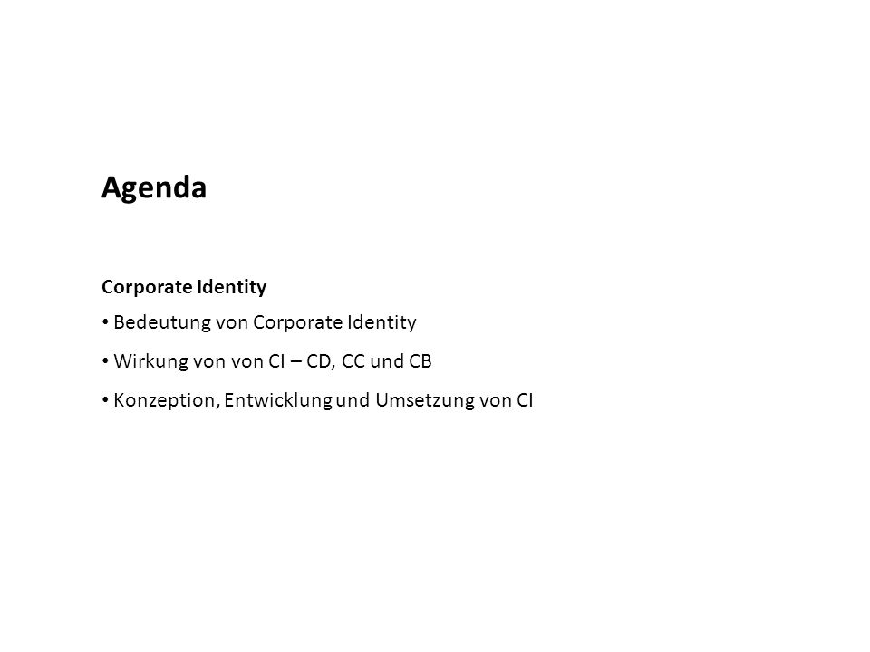 Agenda Corporate Identity Bedeutung von Corporate Identity