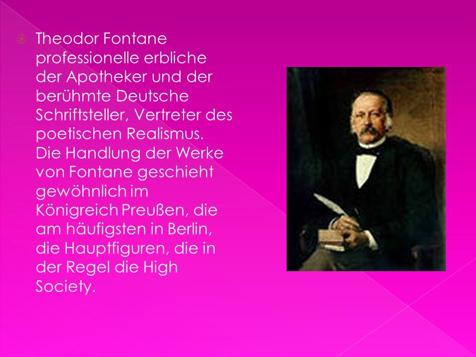 Theodor Fontane professionelle erbliche der Apotheker und der berühmte Deutsche Schriftsteller, Vertreter des poetischen Realismus.