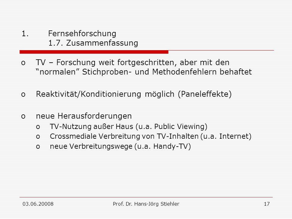 Fernsehforschung 1.7. Zusammenfassung