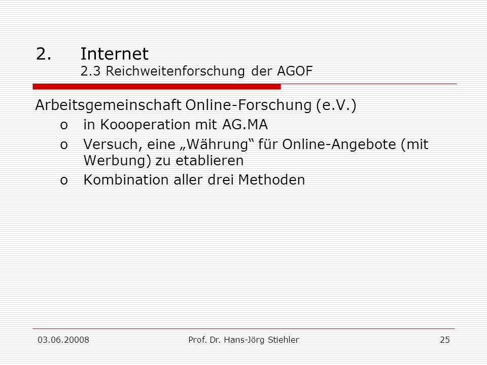 2. Internet 2.3 Reichweitenforschung der AGOF
