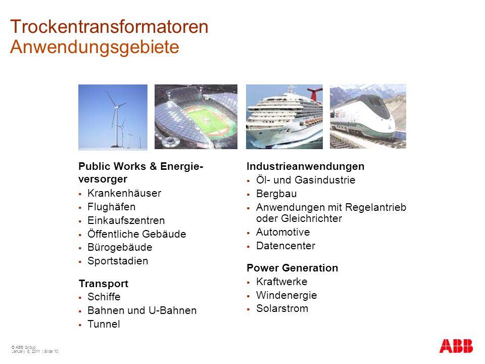 Trockentransformatoren Anwendungsgebiete