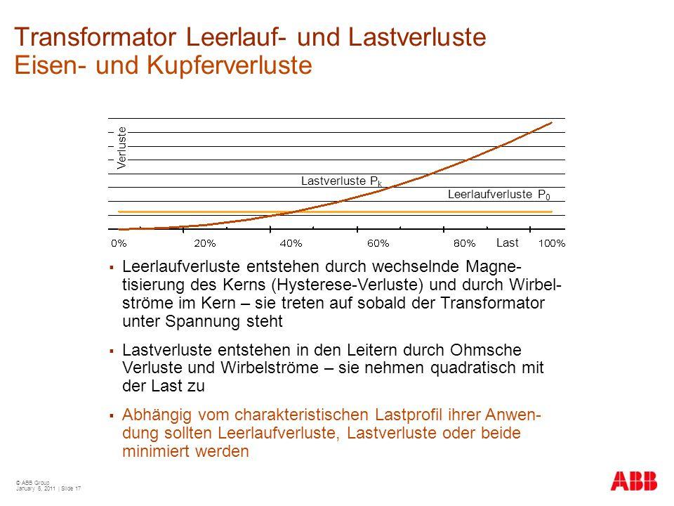 Transformator Leerlauf- und Lastverluste Eisen- und Kupferverluste