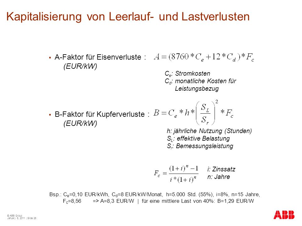 Kapitalisierung von Leerlauf- und Lastverlusten
