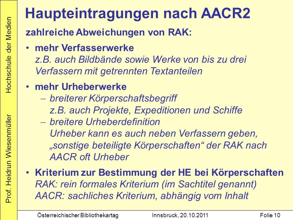 Haupteintragungen nach AACR2