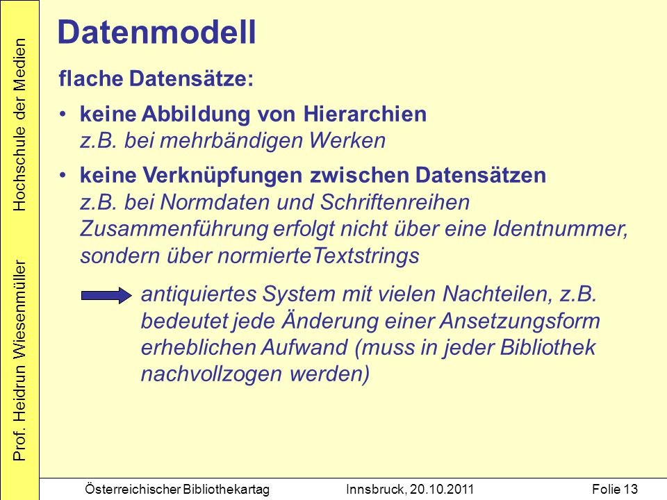 Datenmodell flache Datensätze: