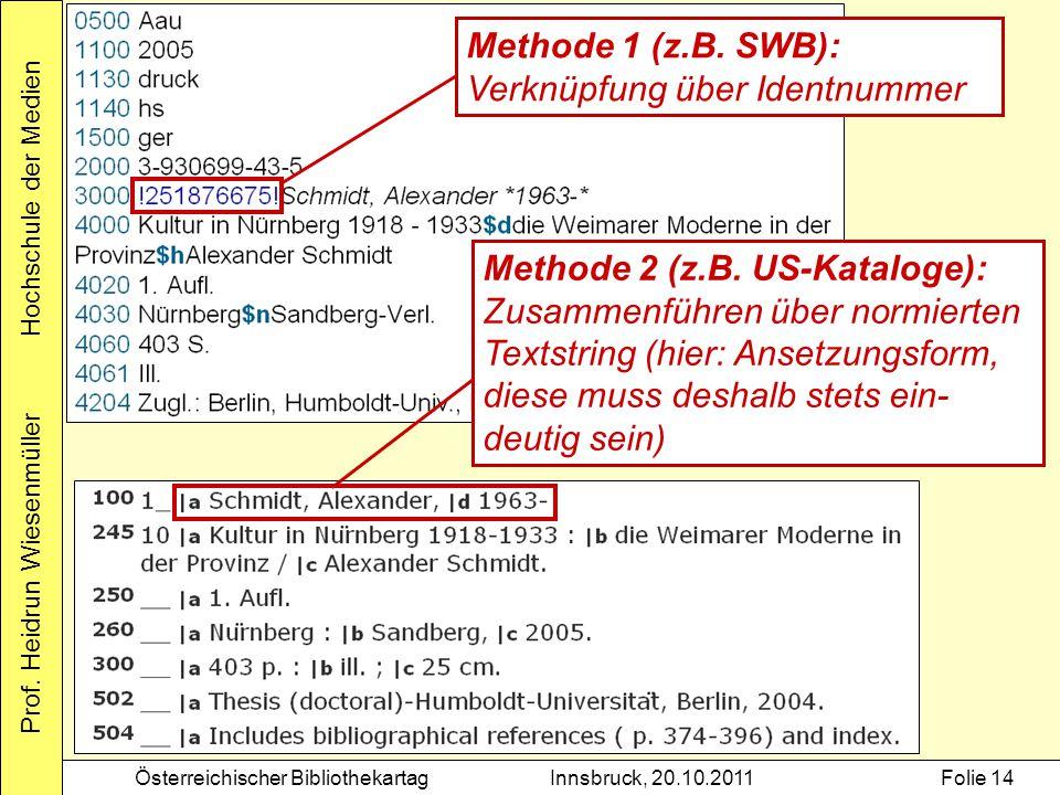 Methode 1 (z.B. SWB): Verknüpfung über Identnummer