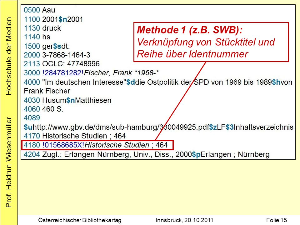 Methode 1 (z.B. SWB): Verknüpfung von Stücktitel und Reihe über Identnummer