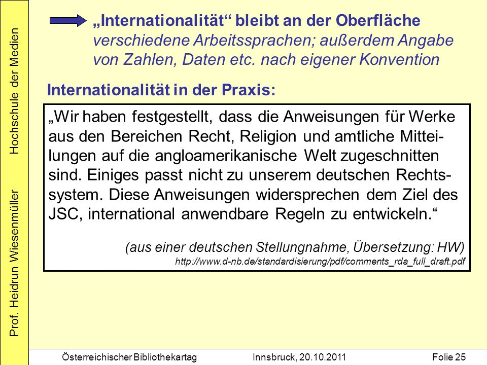 Internationalität in der Praxis: