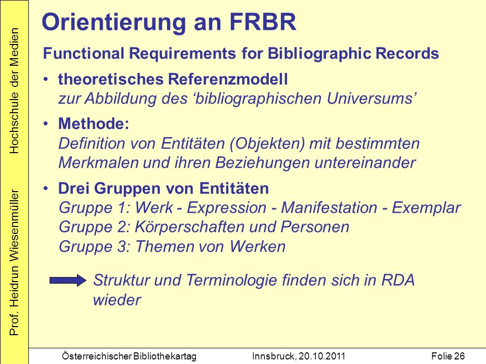 Orientierung an FRBR Functional Requirements for Bibliographic Records