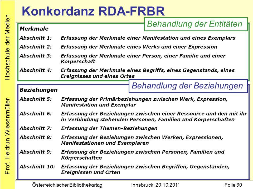 Konkordanz RDA-FRBR Behandlung der Entitäten