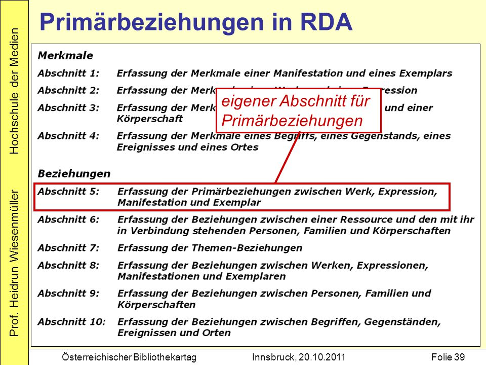 Primärbeziehungen in RDA