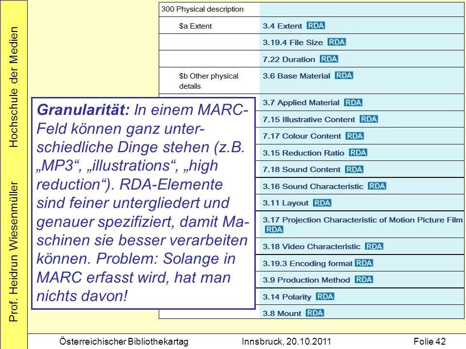Granularität: In einem MARC-Feld können ganz unter-schiedliche Dinge stehen (z.B.