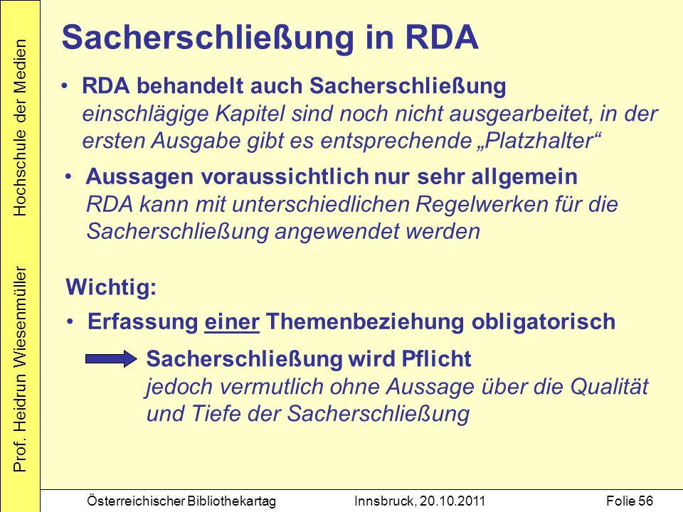 Sacherschließung in RDA
