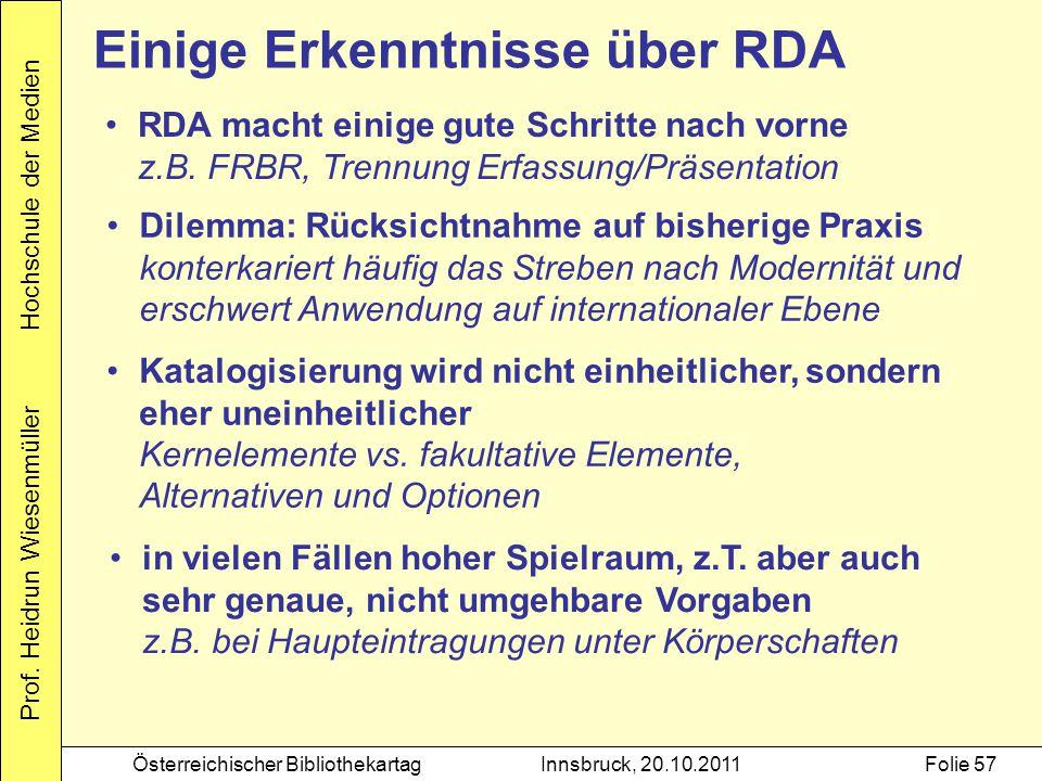 Einige Erkenntnisse über RDA