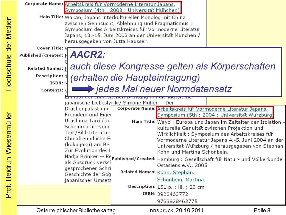 AACR2: auch diese Kongresse gelten als Körperschaften (erhalten die Haupteintragung) jedes Mal neuer Normdatensatz.