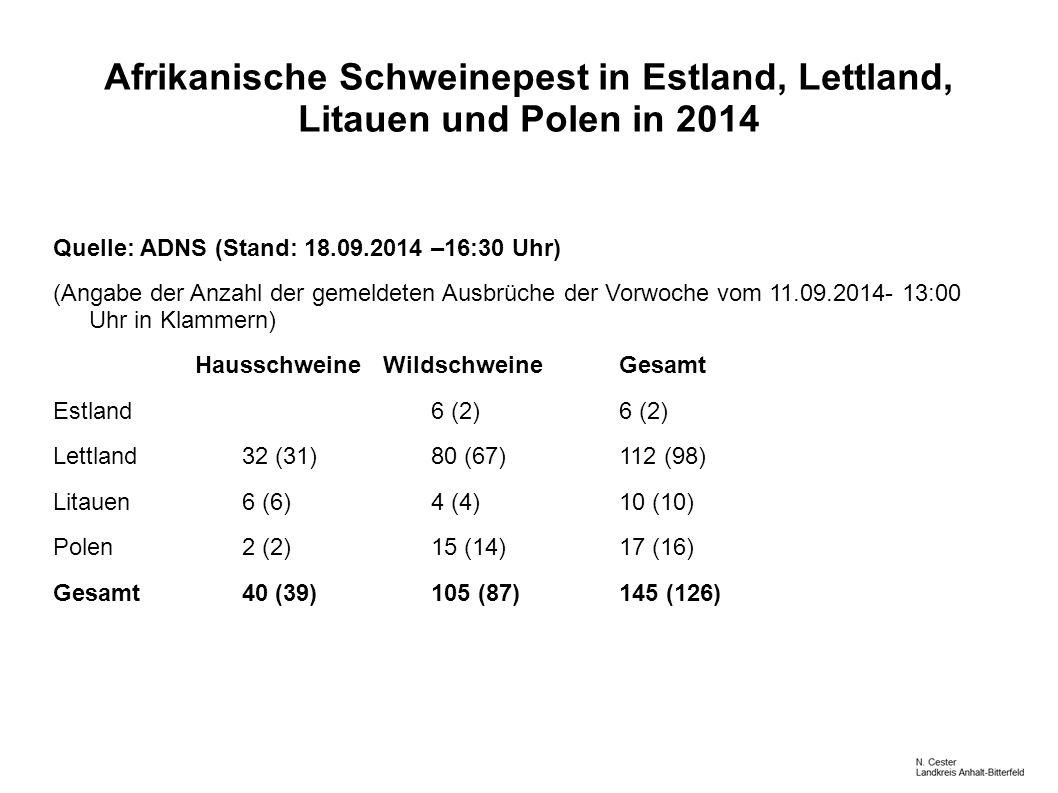 Afrikanische Schweinepest in Estland, Lettland, Litauen und Polen in 2014