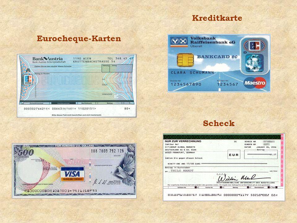 Kreditkarte Eurocheque-Karten Scheck