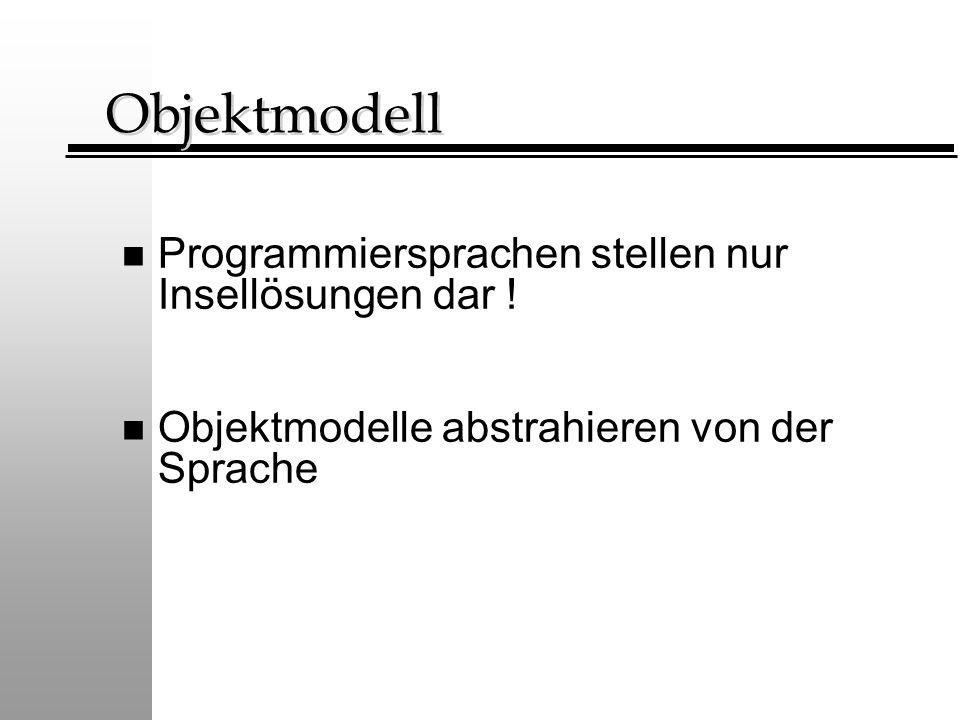 Objektmodell Programmiersprachen stellen nur Insellösungen dar !