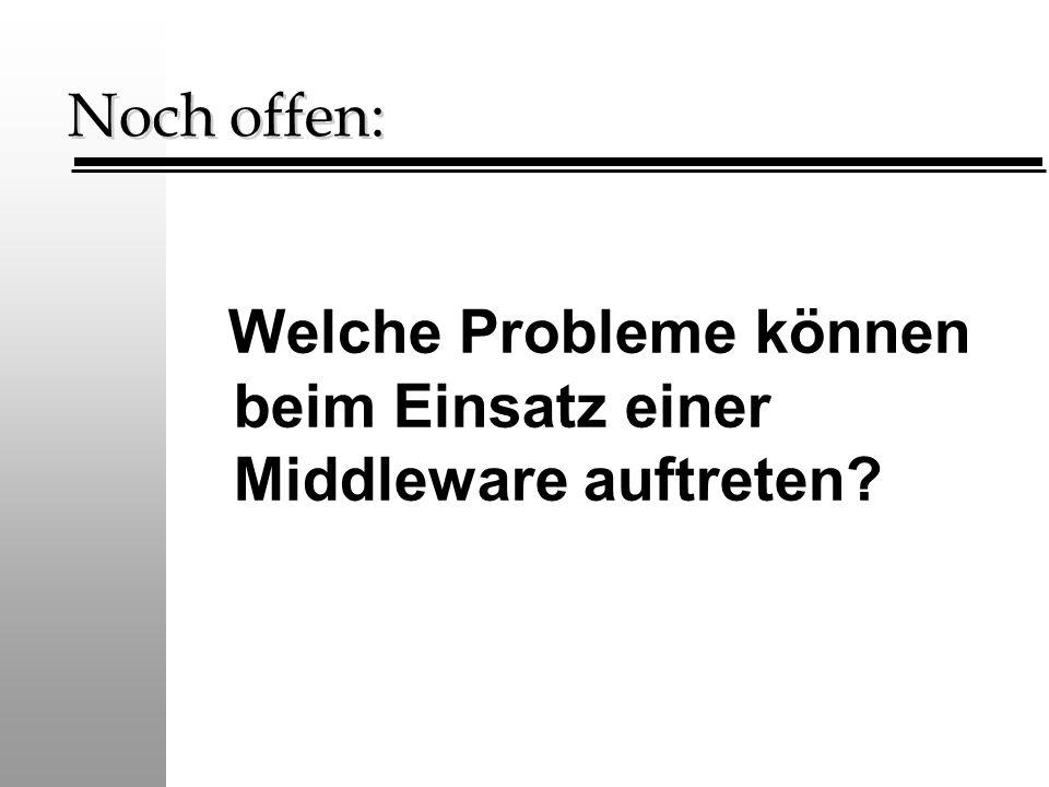 Noch offen: Welche Probleme können beim Einsatz einer Middleware auftreten