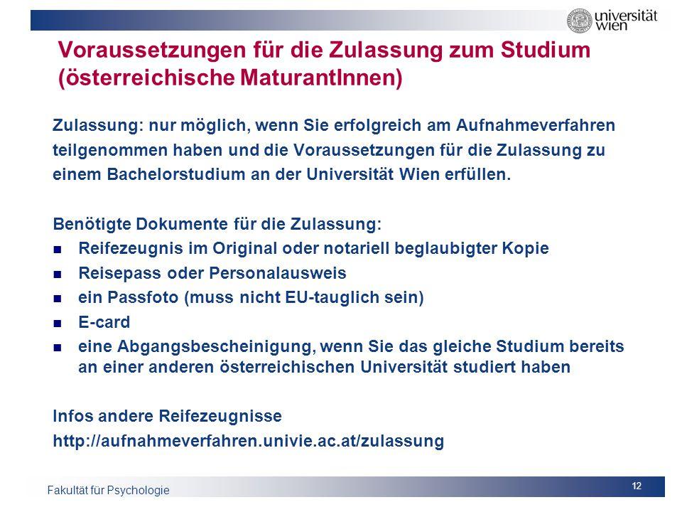 Voraussetzungen für die Zulassung zum Studium (österreichische MaturantInnen)
