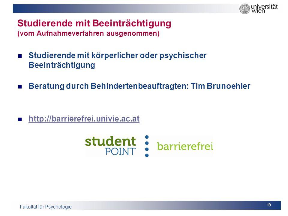 Studierende mit Beeinträchtigung (vom Aufnahmeverfahren ausgenommen)