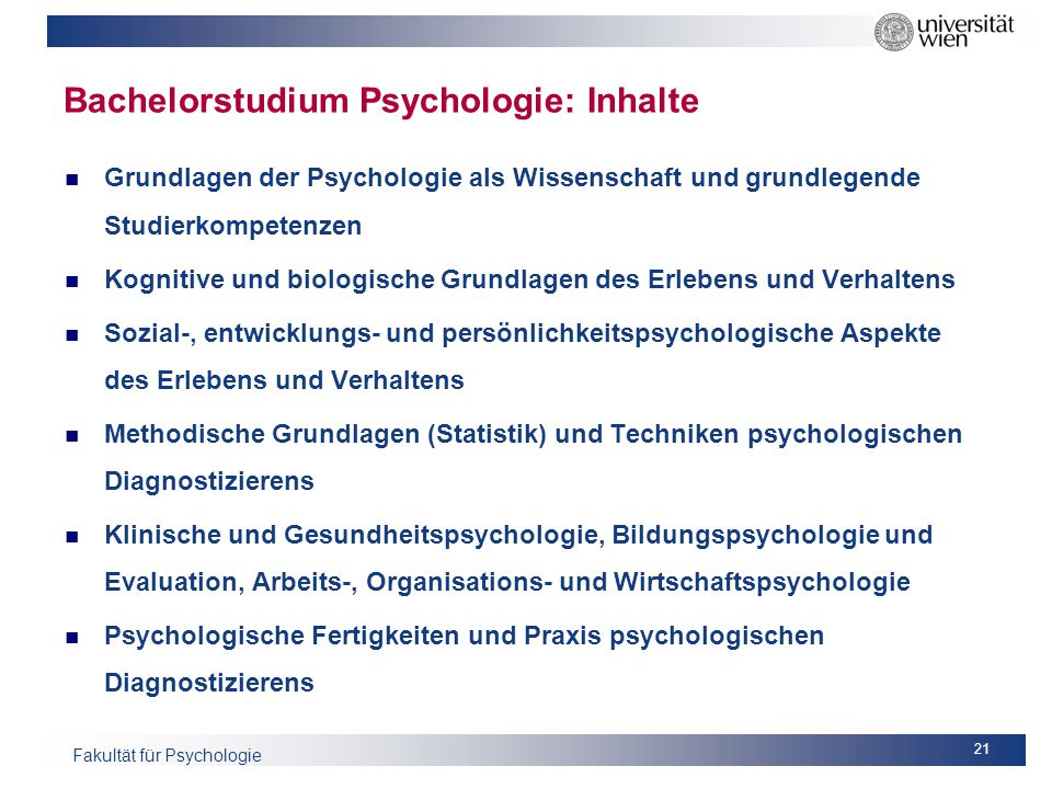 Bachelorstudium Psychologie: Inhalte